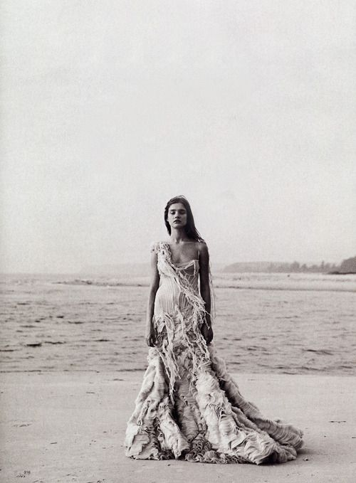 """Alexander McQueen """"Shipwreck"""" S/S '03, Natalia Vodianova, Peter Lindbergh, Harper's Bazaar March 2003"""
