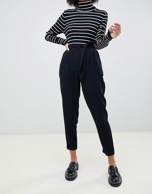 DESIGN woven peg pants with obi tie