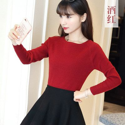 2017 New Korean Women Cashmere Sweaters Pullovers Female Autumn Casual Slash Neck Slim Warm Knitted Sweater Femme Tricot Pull