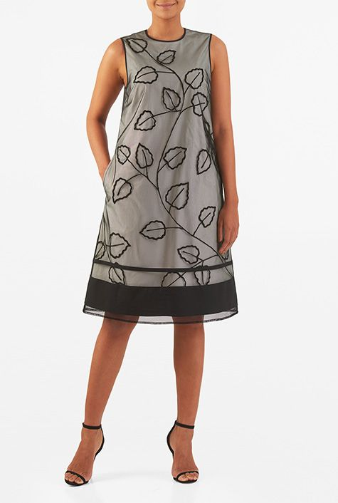 I ♥ this Leaf wool embellished tulle layer poplin shift dress from eShakti Shi…