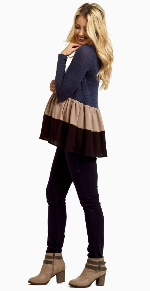 With this peplum knit maternity top, you won't want to wear anything else this season. A knit long sleeve maternity top to keep you warm and a peplum style to give you a flattering silhouette. A perfect maternity top for fall, you can pair this piece with a dark wash maternity jean and boots for a gorgeous ensemble.