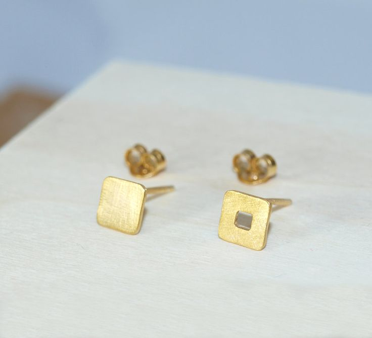 Gold-plated Square Stud Earrings by Fragkiski on Etsy