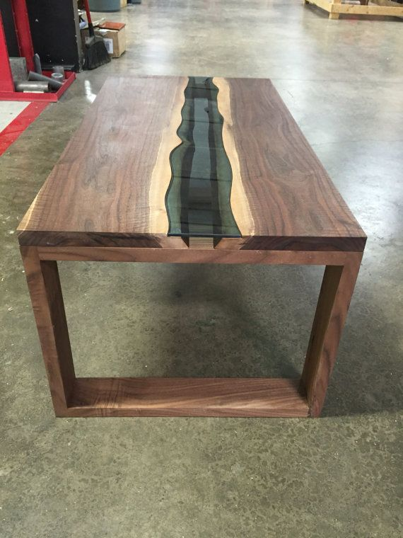 Beautiful hand crafted coffee table 2 live edge walnut slabs from Oregon Blue glass river inlay ...