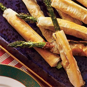 Phyllo-Wrapped Asparagus with Prosciutto - Top-Rated Party Appetizers - Cooking Light