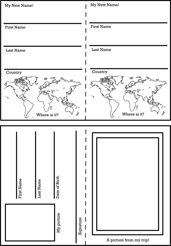 Activity Worksheets And Printables Passport Template Passports For Kids Id Card Template