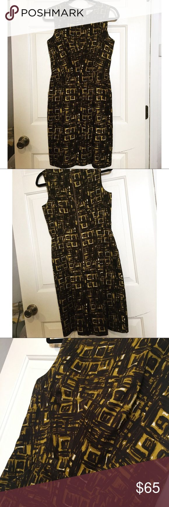 Milly Geometric Sheath Dress EUC. Fully lined. Black/olivey-mustard geometric de…