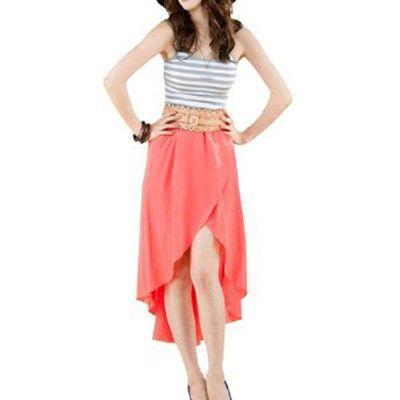 Women Asymmetrical High Low Hem Elastic Waistband Ruffled Skirt XL