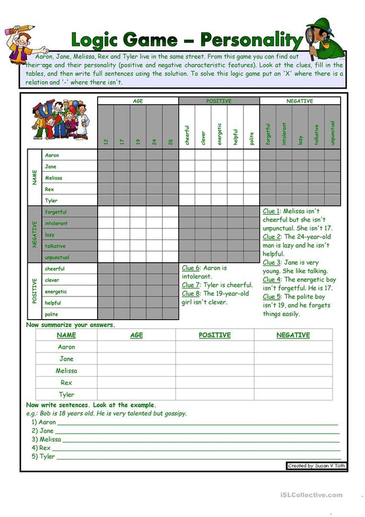 Logic game (10th) - Personality *** with key *** for elementary level * reuploaded (MSWord2003) worksheet - Free ESL printable worksheets made by teachers