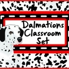 Dogs Classroom Set (Dalmations) This set includes the following: -Desk name tags -Charts -Number lines -Calendar numbers, months and days -ABC sets -Assortment of tags and labels -pencil toppers - posters - charts - hall passes -the possibilities are limitless.