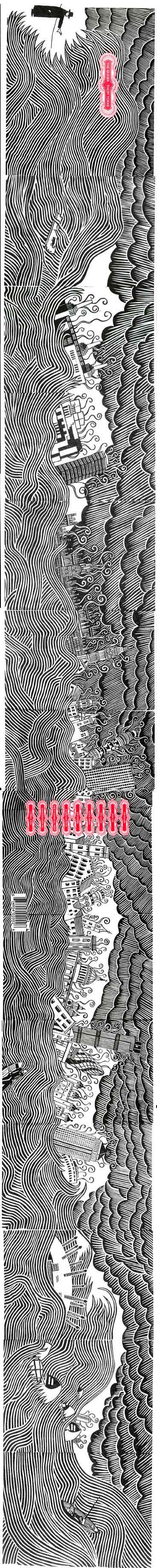 Beautiful illustration by Stanley Donwood on Thom Yorke's album The Eraser Album. Donwood's cover artwork for the album was announced the winner of the Best Art Vinyl award of 2006. (tilt your head to see it)