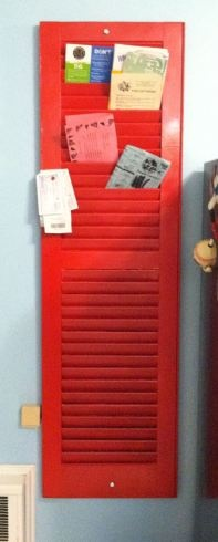 Re-purposed shutter - use for picture during the year and cards around christmas.