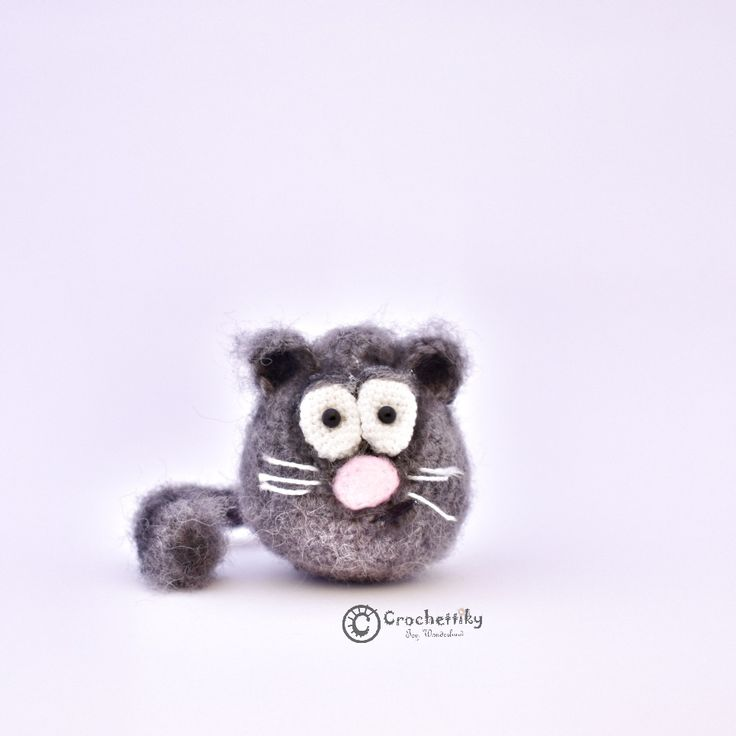 Crochettiky Kitten Mya   Little funny kitten Mya is ready to become your best friend!   Yarn: mohair.  Size: approx 6cm high. Fill: non-allergenic, polyester fiberfill.  Glass eyes.  Wire frame for tail.  Colored with pastel. $20  #crochetaddict #craft #handmadebyme #амигуруми #вязание #mydesign #örgü #ganchillo #あみぐるみ #かぎ針編み #virka #handmadewithlove #yarn #crochetlove #crochetart #perthartists #perthart #WA #artdoll #toy #crochettoy #amigurumitoy #plushies #handmadetoy #kitten #cat #grey