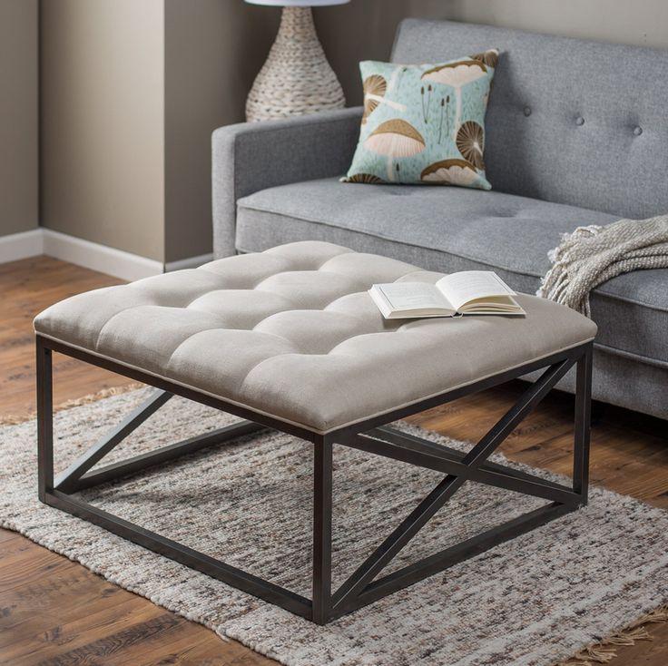 Sleek Modern Open Designed Style Linen Tufted Coffee Table Ottoman