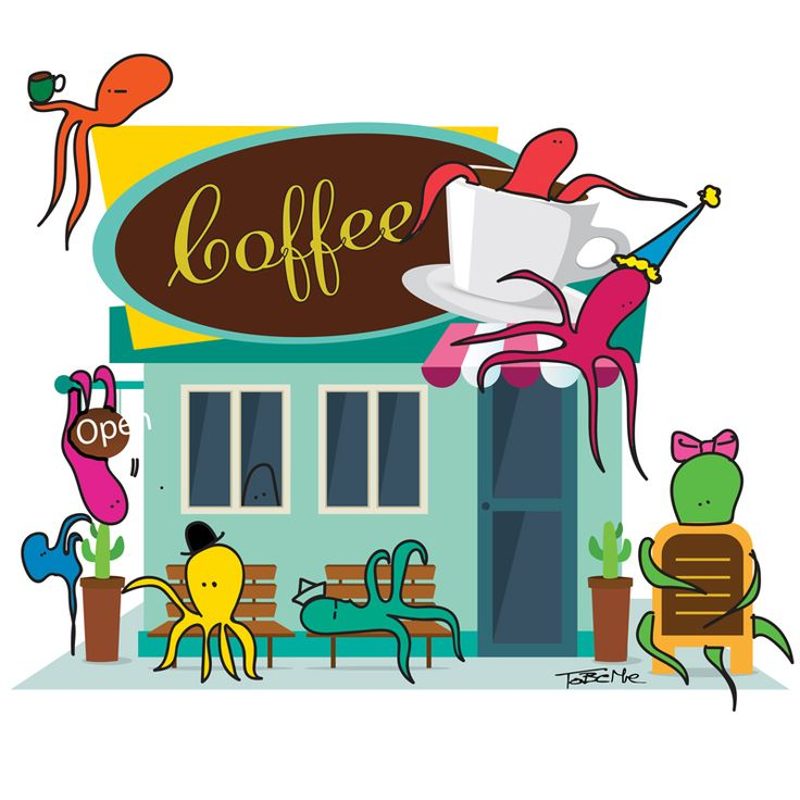 Cool octopuses in action! This time they want coffee.