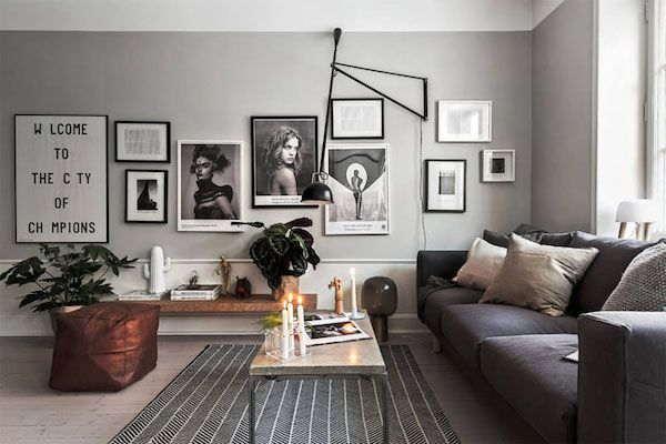 A Scandinavian home with grey walls