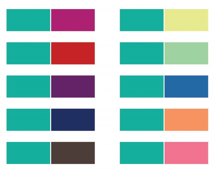 Colors to pair with teal. Some great ideas for Wear Teal Day (coming up next on September 6, 2013).