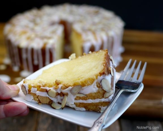 Noble Pig Buttery Almond Pound Cake with Almond Glaze one slice wont be enough~T~ This is a wonderful dessert for any occasion.
