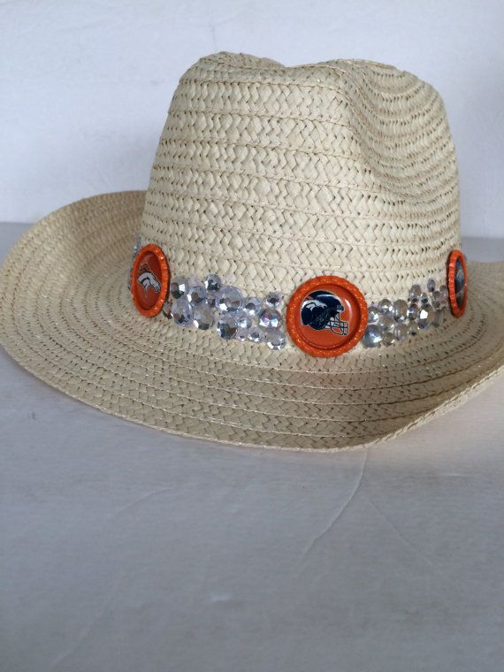 Denver Broncos Hat decorated with rhinestones and Broncos images.  Ready to ship by HochePotBoutique