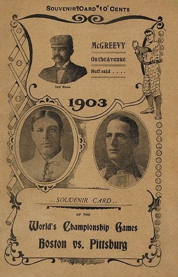 "Photo: a program from the 1903 World Series. Credit: Wikimedia Commons. Credit: Wikimedia Commons. Read more on the GenealogyBank blog: ""Boston Defeats Pittsburgh in Baseball's First World Series"" https://blog.genealogybank.com/boston-defeats-pittsburgh-in-baseballs-first-world-series.html"