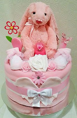 Beautiful Baby Girls Gift - 1 Tier Pink Bunny Nappy Cake - Baby Shower