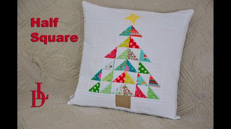 #halfsquare #patchwork #tutorial #polštář #vánoční půlenéčtverce #pravítka #šablony