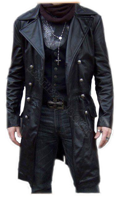 Handmade men black biker leather coat, men leather coat, men long leather coat, men antique buttons style coat. Only $229.99