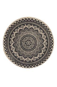 Ellos Home Matta Topeka Ø 120 cm Rund matta med tryckt mönster. Ø 120 cm. Av 100% bomull. Rengörs genom dammsugning. Fläckar tas bort med fuktig trasa.