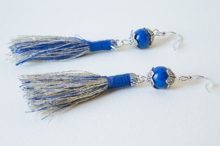 Handmade jewelry pendant dangle earrings Bohemia Blue Beads tassel earrings by…