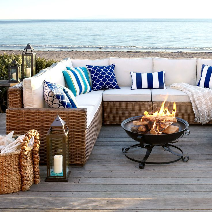 Sundeck Wooden Patio Ideas With Light Brown Lacquered Wicker Pier One  Sectional Sofa, Light Brown