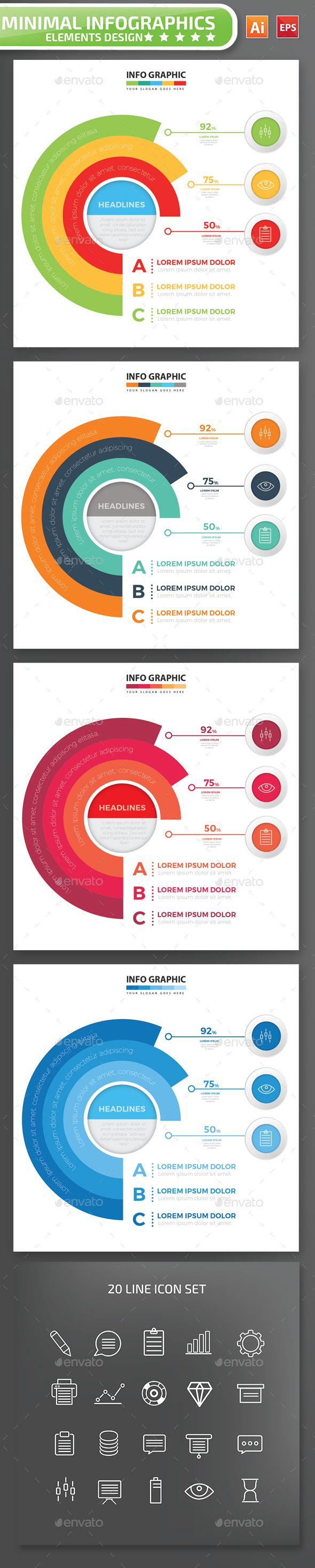 Minimal infographic Design Template Vector EPS, AI Illustrator. Download here: https://graphicriver.net/item/minimal-infographic-design/17177025?ref=ksioks