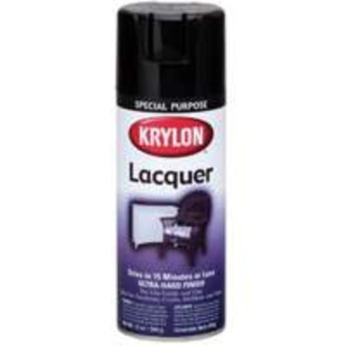 Krylon 7030 Lacquer Spray Paint, 12 Oz, Gloss Black