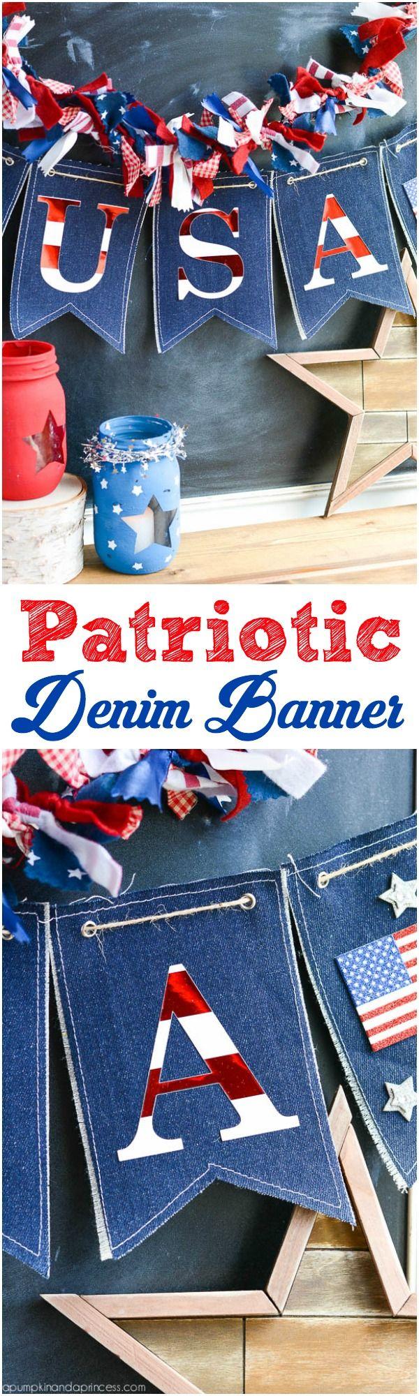 Patriotic Denim Banner by Michaels Makers A Pumpkin and a Princess