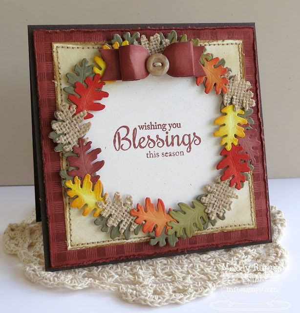 Fall Foliage; Textile Backgrounds; Autumn Wreath Die-namics; Beautiful Bows Die-namics - Melody Rupple