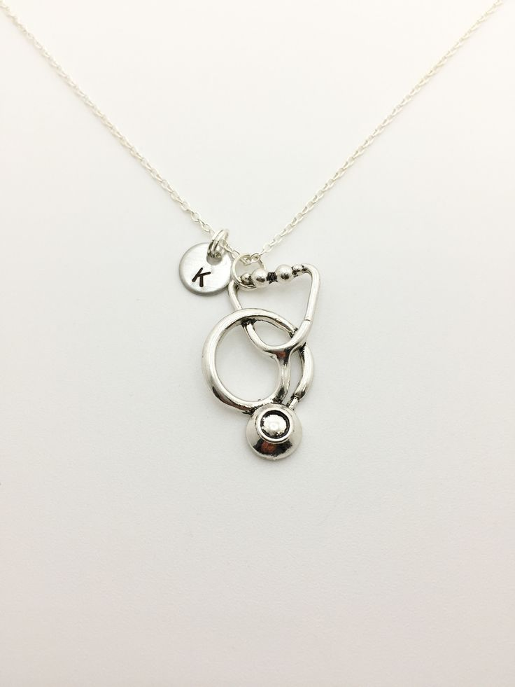 Beautiful and Simplistic Stethoscope Necklace with a Stamped with Initial of Choice! Perfect Gift for Doctors, Med Students, RN Registered Nurse, Nursing Student, Firefighter, Paramedic or EMT! This l