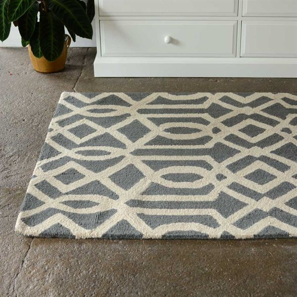 Balkhi Rug in Grey from The Cotswold Company.   Grey Graphic Print Rug, Grey and Cream Geometric Rug