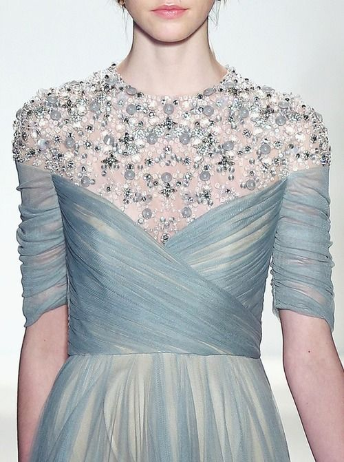 Jenny Packham Fall / Winter 2013. Baby Blue evening gown with embroidery and tulle. #Runway #Princess #fashion