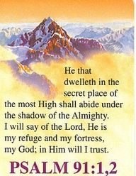 Psalms 91:1   He that dwelleth in the secret place of the MOST HIGH shall abide under the shadow of the ALMIGHTY.   Psalms 91:2   I will say of the LORD,  HE is my refuge and my fortress: my GOD; in HIM will I trust.