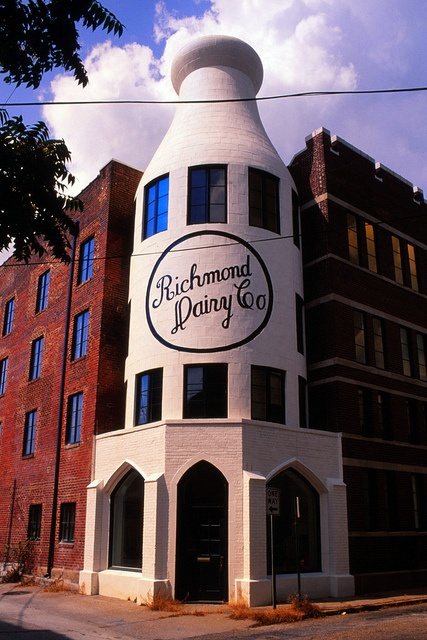 "Richmond Dairy, VA --Dairy opened in 1913-has 3 giant ""milk bottles"" as part of the structure--in 1999 the building was turned into apartments but they kept the ""bottles""  --from the book ""Weird Virginia--Roadside Oddities"""