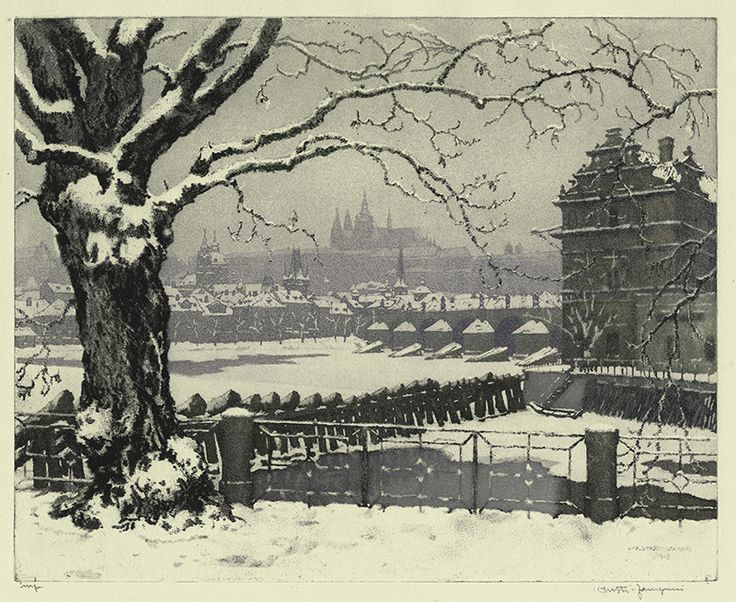 View of Old Prague in Winter by Jaromir Stretti-Zamponi