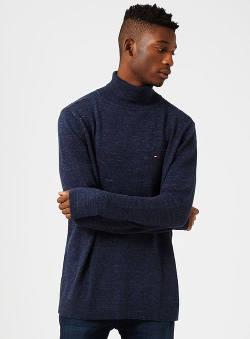 HILFIGER DENIM Navy Roll Neck Jumper - TOPMAN