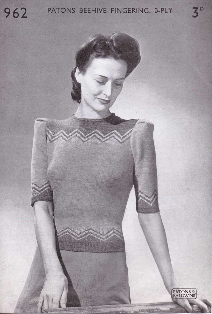 513 best vintage knitting patterns womens jumpers images on free vintage pattern 1940s zigzag top no 962 from paton and baldwins no 962 bankloansurffo Gallery