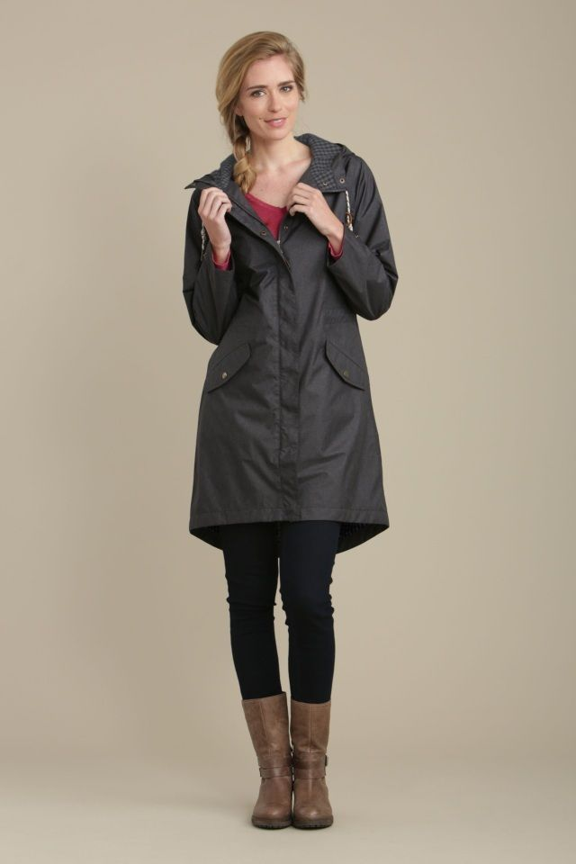 Mid-thigh length raincoat with shaped hem, parka styling and lots of practical details.