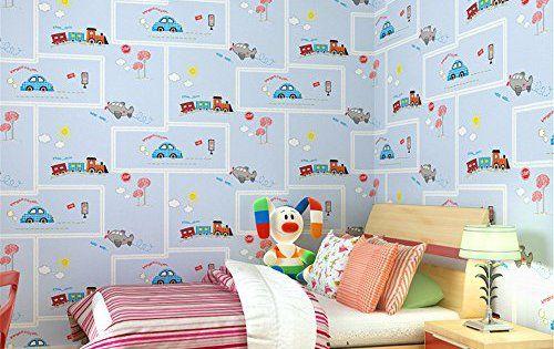 ufengke Cartoon Voiture Non-Tissé Rayé Papiers Peints Décoration Murale  Pour Chambre d'Enfants Nursery, échantillon: Échantillon pour…