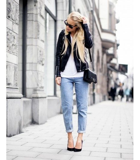@Who What Wear - Victoria Tornegren wins for easiest outfit to recreate. Her light-wash boyfriend jeans are key for adding a springtime feel to a black and white ensemble.  ​On Tornegren: River Island jacket, Topshop jeans, Whistles heels, Have2Have bag.