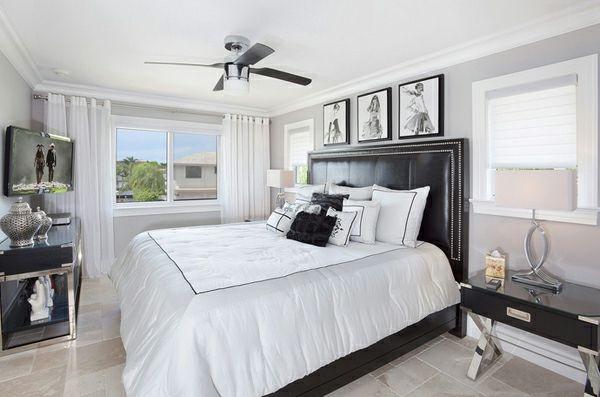 blickdichte vorhänge schlafzimmer schwarz weiß