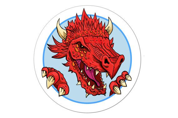 Dragon stickers set of 30 self adhesive red by TheNobleArtist