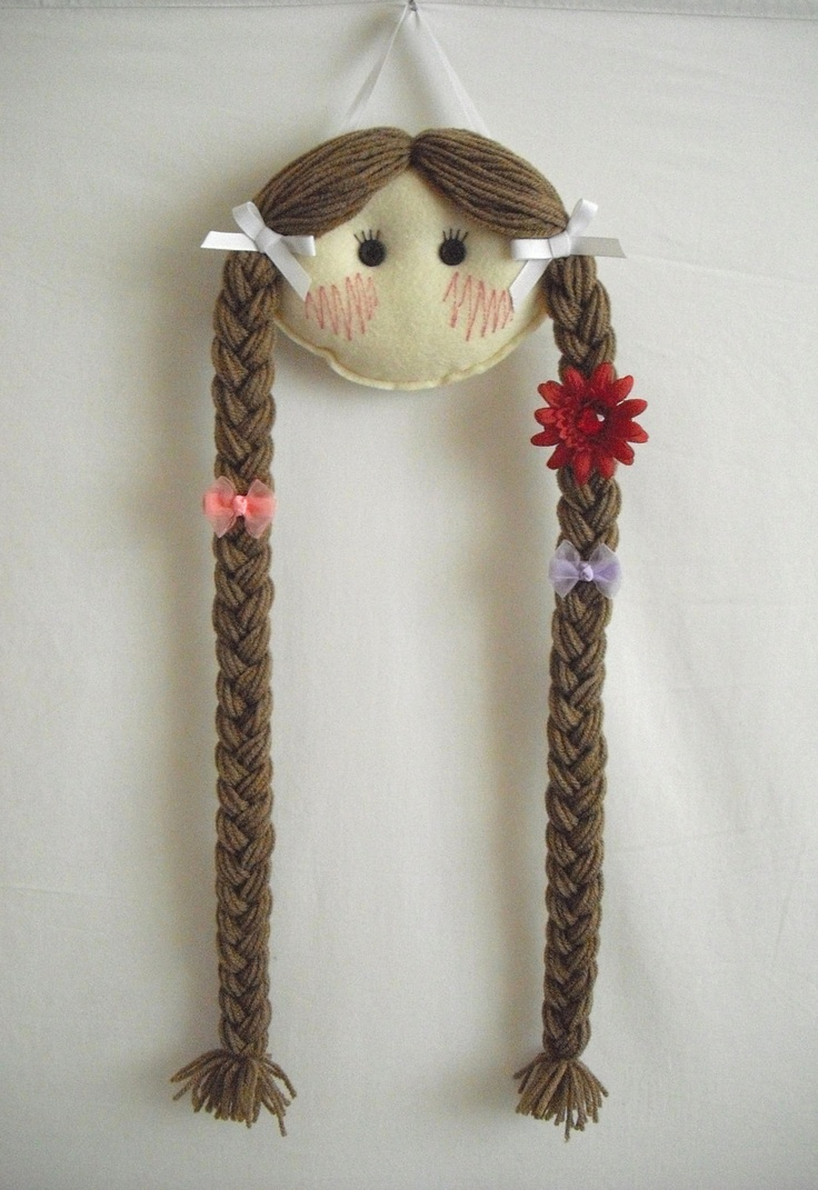 Doll Face Hair Clip Holder - Light skin with Light Brown Hair. $16.95, via Etsy.