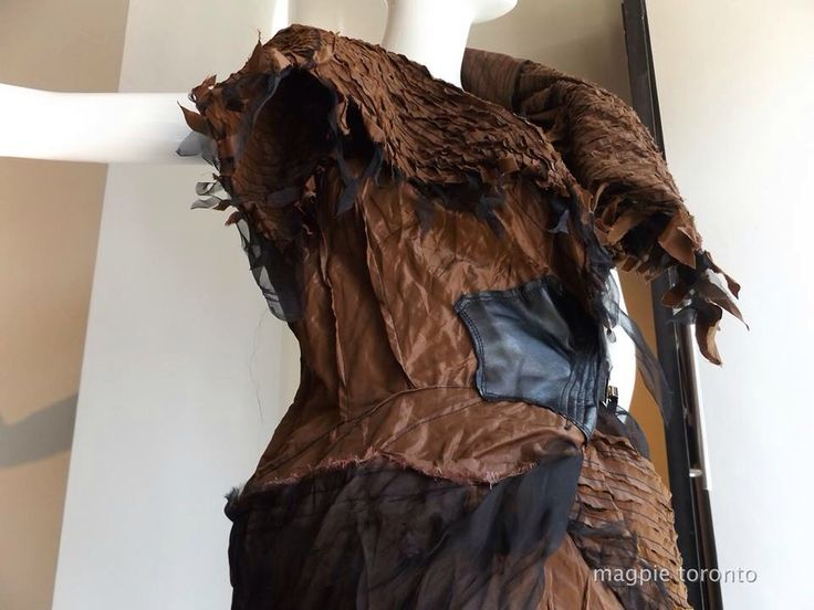 bronze vest, oversized collar, silk organza and leather #rawedge