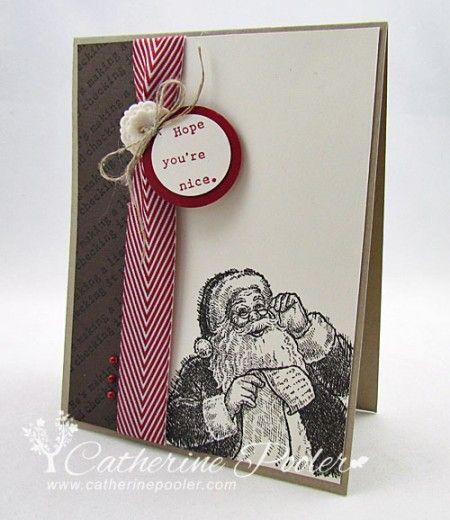 Love this Santa!  http://catherinepooler.com/2013/10/christmas-card-santas-list-stampin/  #stampinup  #christmascard