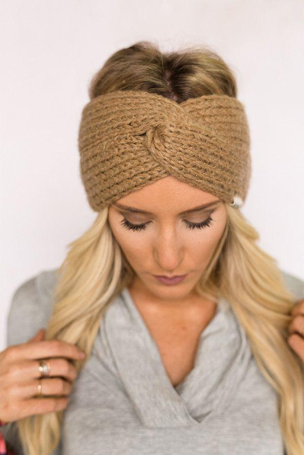Knitted Turban Twist Headband In Tan Hair Accessories